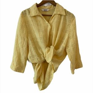 FUNKY YELLOW SHEER BLOUSE 90s VINTAGE